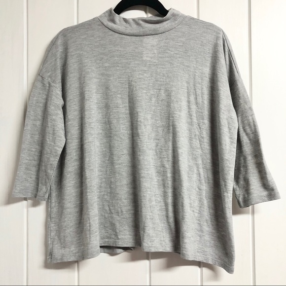 Anne Taylor LOFT Grey 3/4 Sleeve Top